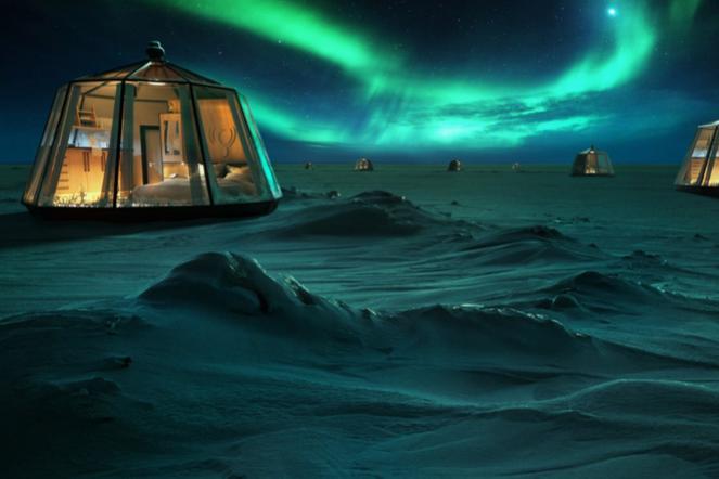 North Pole Igloo Northern Lights